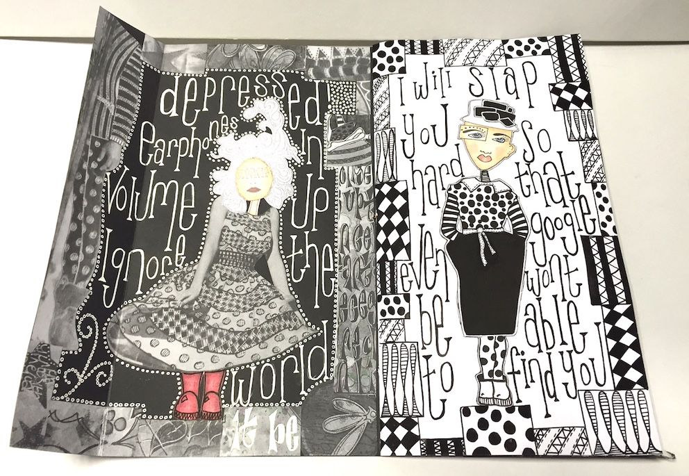 Black and white dylusional doodle journal by sandra botham