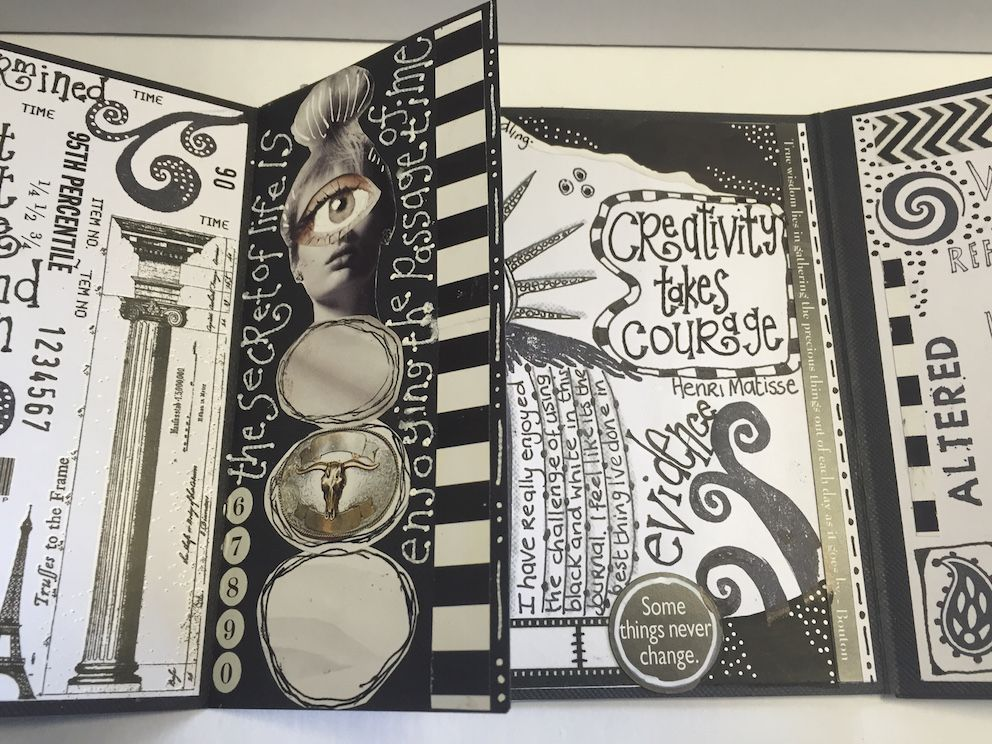 Black white collage doodle journal with sandra h