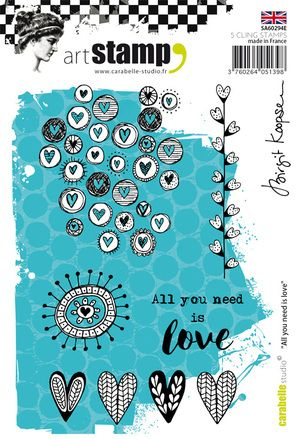 Carabelle Studio - Rubber Stamps - A6 - All you need is love by Birgit Koopsen
