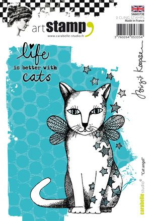 Carabelle Studio - Rubber Stamps - A6 - Cat angel by Birgit