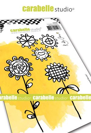 Carabelle Studio - Rubber Stamps - A6 - Crayoned Florals by Kate Crane