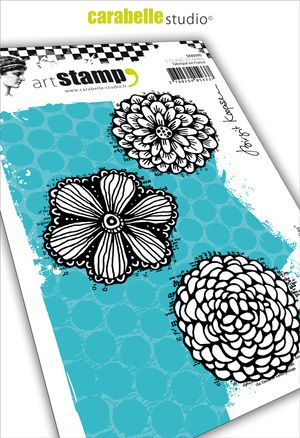 Carabelle Studio - Rubber Stamps - A6 - Fanciful Dahlias by Birgit Koopsen
