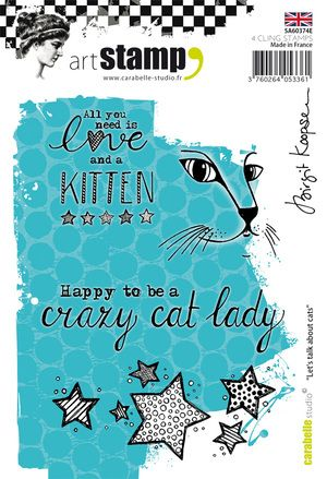 Carabelle Studio - Rubber Stamps - A6 - Let's talk about cats by Birgit Koopsen