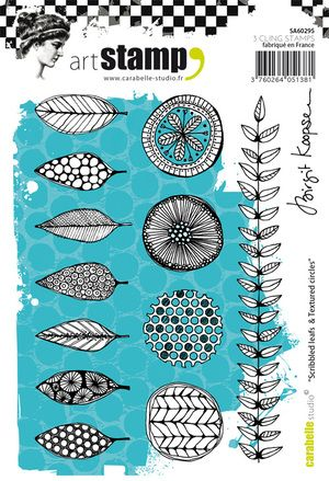 Carabelle Studio - Rubber Stamps - A6 - Scribbled leafs &Textured circles Birgit Koopsen