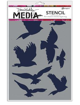 Dina Wakley Media - Stencil - Flying Birds Masks