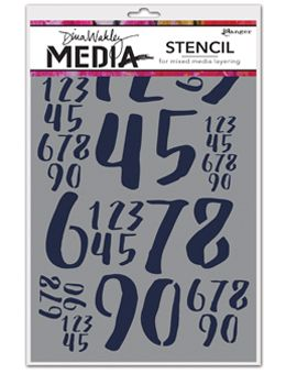 Dina Wakley Media - Stencil - Jumbled Numbers