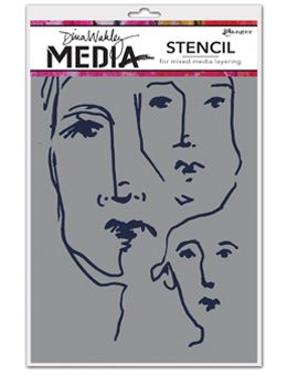 Dina Wakley Media - Stencil - Scribbled Faces