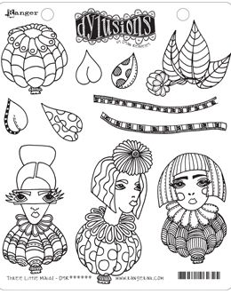 Dylusions - Rubber Stamps - Three Little Maids