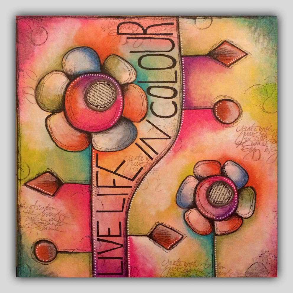 Live your life in colour - Colourblock Canvas - with Tracy