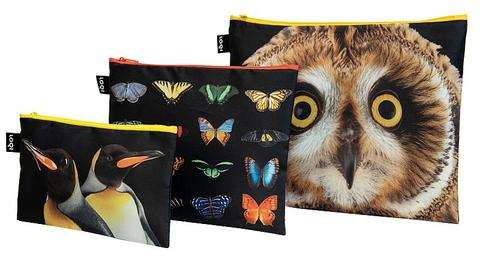 LOQI - Zip Pockets - National Geographic - Owl, Butterfly & Penguins