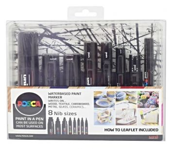 Posca Set - Black 8pc Assorted