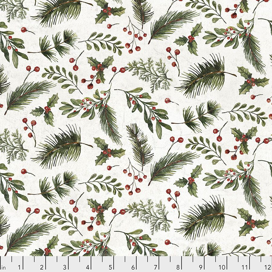 Tim Holtz - Eclectic Elements - Yuletide Collection - 50cm - Festive Greens - White