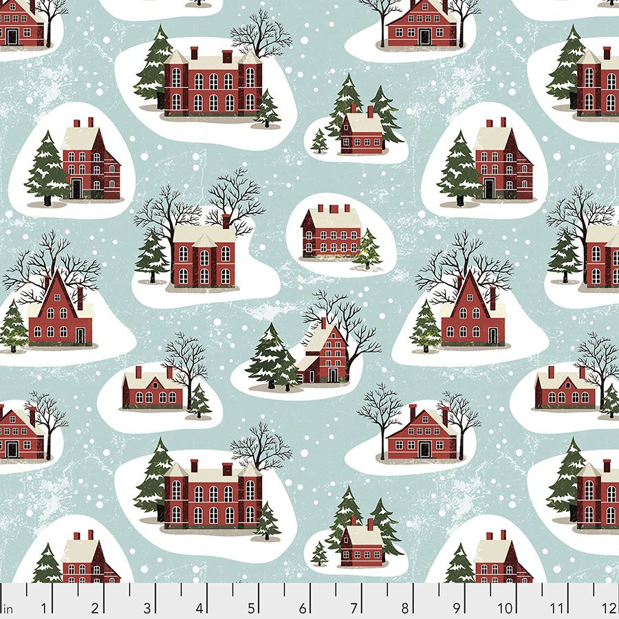 Tim Holtz - Eclectic Elements - Yuletide Collection - 50cm - Winter Village - Aqua