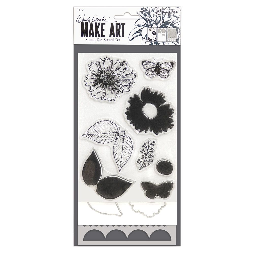 Wendy Vecchi - Make Art - Stamp, Die & Stencil Set - Country Flowers